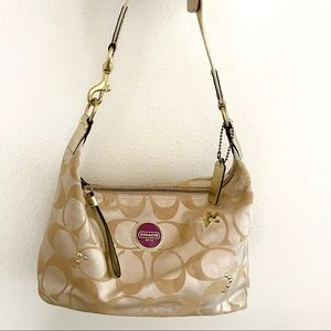 Coach satin gold signature hobo